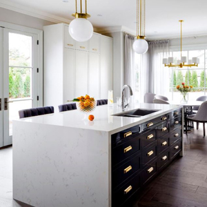 kitchen island with black cabinets